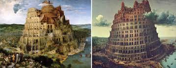 Due dipinti che raffigurano la torre di Babele.